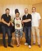 Die Vier EvangCellisten mit Alexey (für den erkrankten Lukas) nach dem Workshop-Abschlusskonzertes der