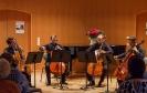 Die Vier EvangCellisten mit Alexey für den verhinderten Lukas beim großen Abschlusskonzert der