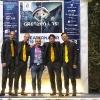 Die Vier EvangCellisten mit Festivalleiter Janek Liebetruth in Benneckenstein / Festival THEATERNATUR 2019 (Foto: Frank Drechsler)